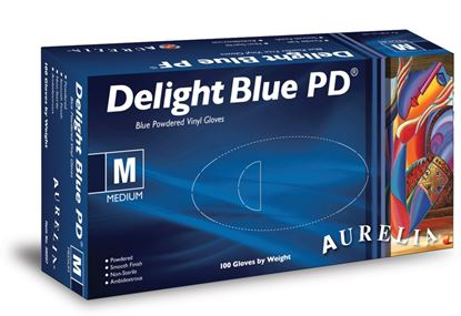 Picture of Aurelia Vinyl Powdered Disposable Blue Gloves XLarge - Pack 100
