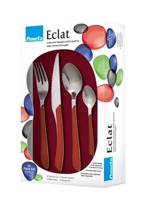 Picture of Amefa Eclat Cutlery Set 24 Piece Red
