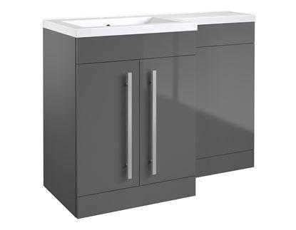 Picture of Kvit Matrix 2 Door Basin Unit Gloss Grey 600mm