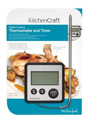 Picture of KitchenCraft Digital Cooking Thermometer And Timer Black